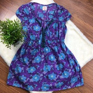 FREE PEOPLE Purple Blue Floral Cap Sleeve Tunic